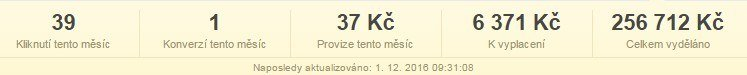 Celková provize v affiliate programu Trikátor.cz