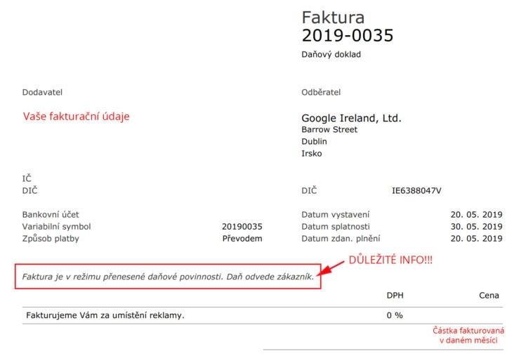Vzorová faktura navázaná na platbu ze zahraničí identifikované osoby