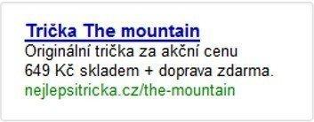 Inzerát na trička The mountain