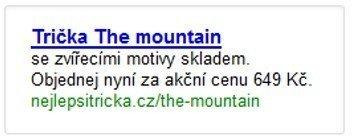Inzerát trička The Mountain
