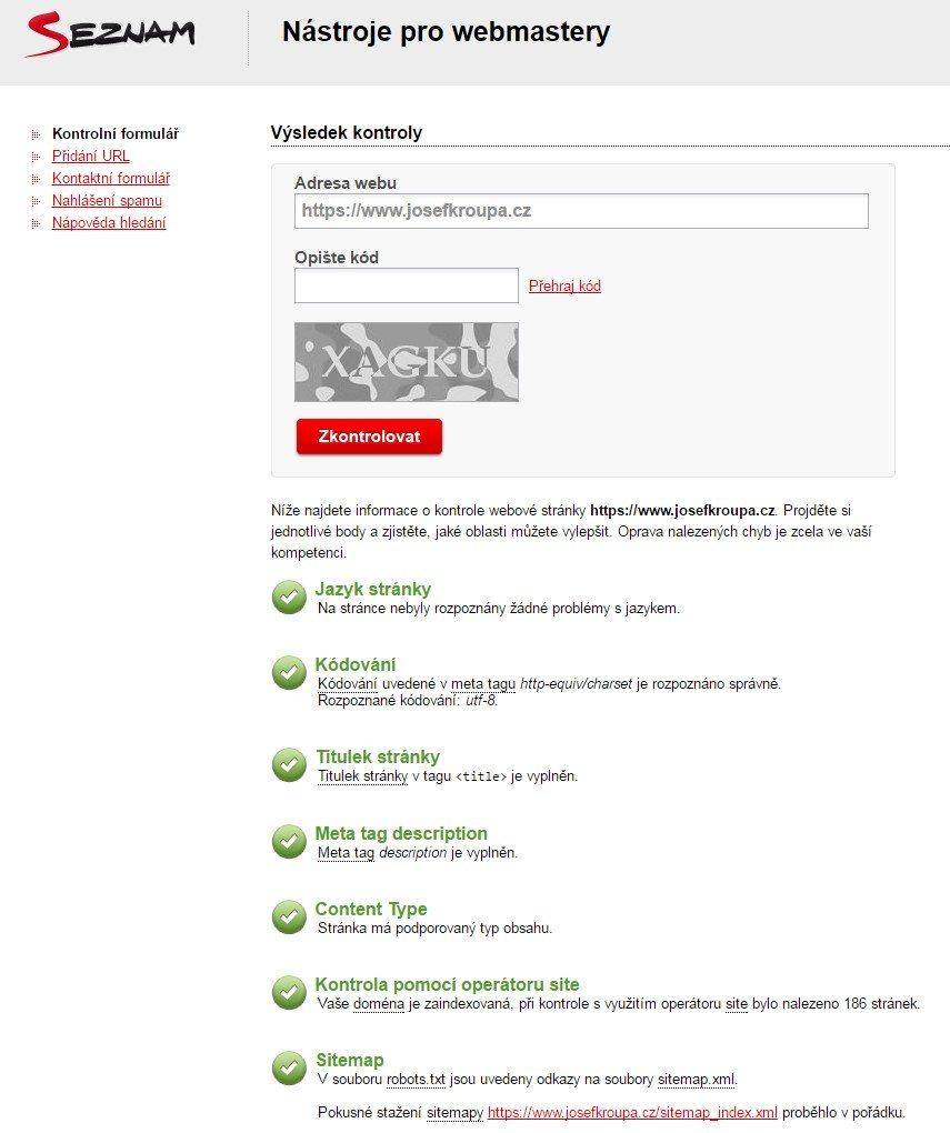 Kontrola webu v nástroji pro webmastery u Seznamu