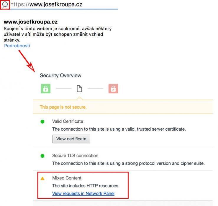 Míchání HTTP a HTTPS obsahu