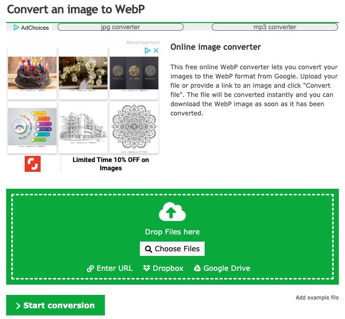 Online konvertor obrázků WebP