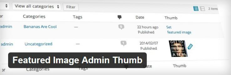 Plugin Featured Image Admin Thumb