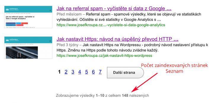 Počet zaindexovaných stránek Google