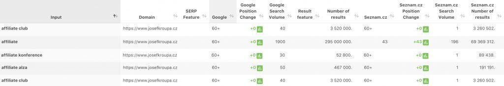 Pozice vybraných klíčových slov ve vyhledávačích