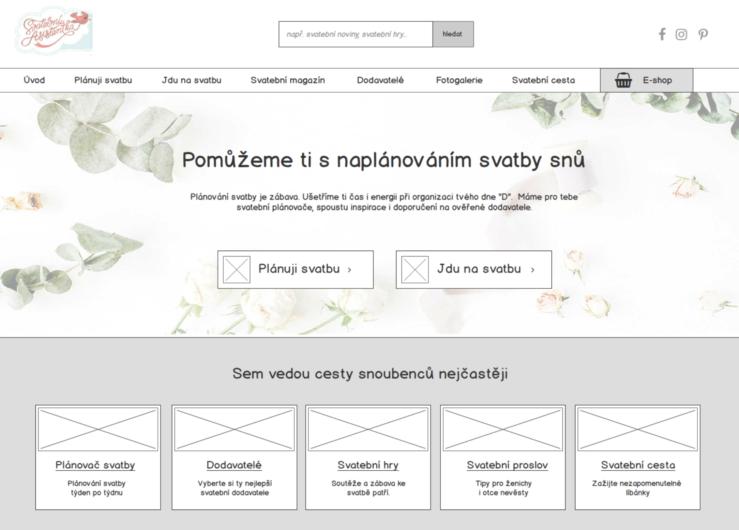 Úvodní stránka webu - wireframe