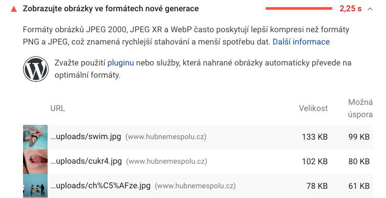 Report ze služby Page Insights