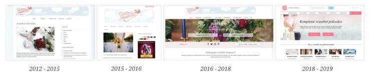 Vývoj webu svatební asistentka v letech 2012-2019