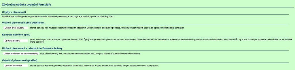 Závěrečná stránka formuláře VIES
