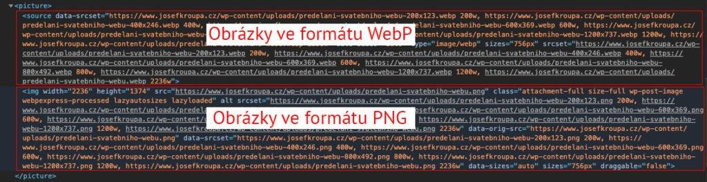 Zdrojový kód zobrazování obrázků WebP a PNG